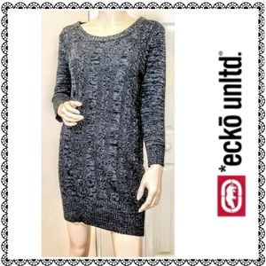 {Ecko Unltd.} Charcoal cable knit sweater dress, L